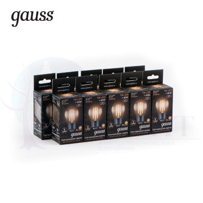 Лампа Gauss LED Filament Шар E27 7W 550lm 2700K 1/10/50