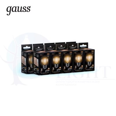 Лампа Gauss LED Filament Шар E27 5W 420lm 2700K 1/10/50