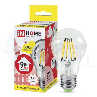 Лампа сд LED-A60-deco 9W 230V Е27 810Lm прозрачная IN HOME
