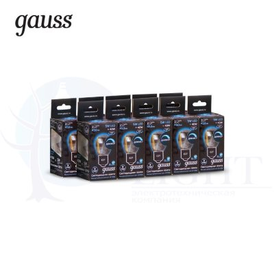 Лампа Gauss LED Filament Шар dimmable E27 5W 450lm 4100K 1/10/50